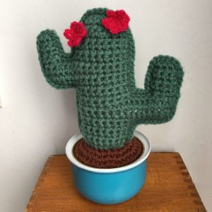 Cactus candelabre, vert tilleul, 2 fleurs rouges, pot métal turquoise