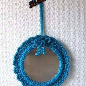 Miroir Rond Bleu à noeud