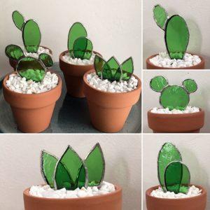 Cactus Vitrail Tiffany Petit Modèle
