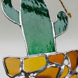 Cactus vitrail Tiffany verre et seaglass suspension