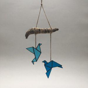 Mobile oiseaux bleus vitrail Tiffany