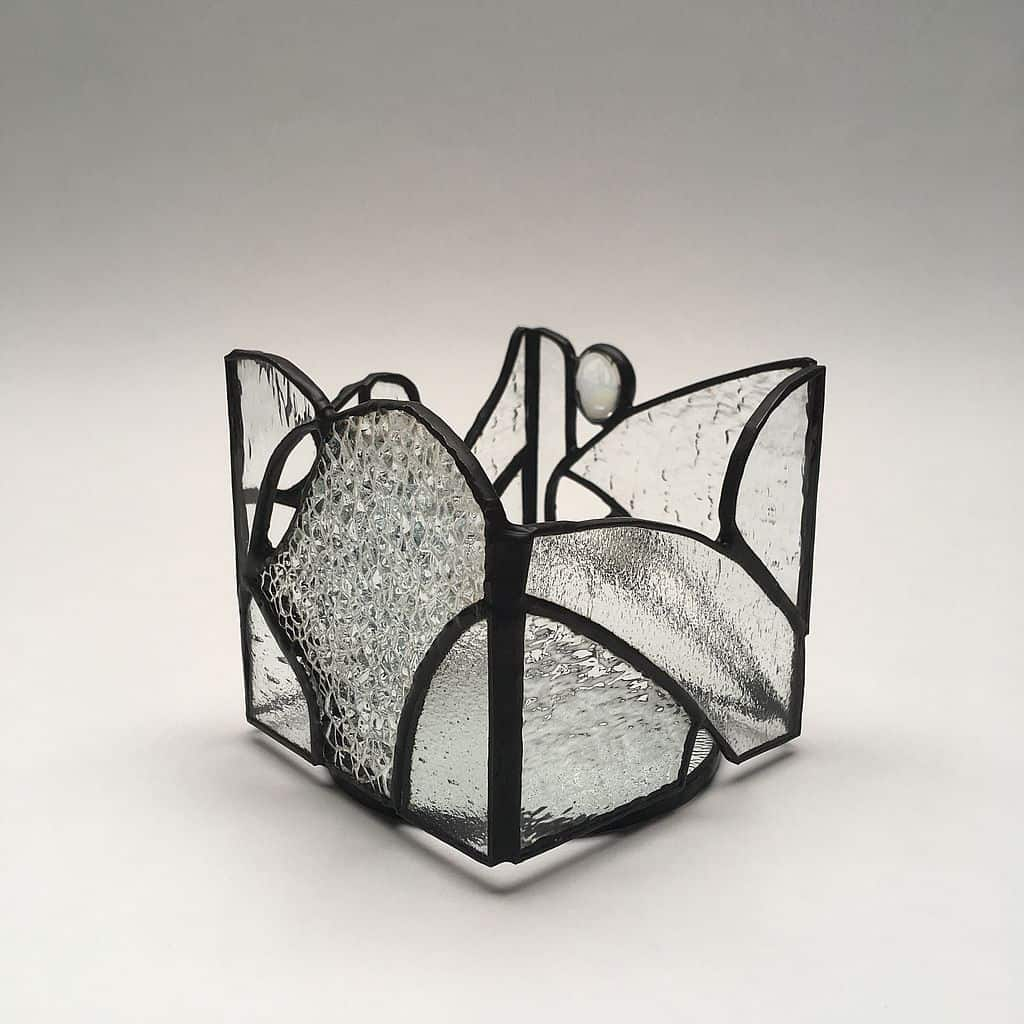 Photophore vitrail Tiffany blancs texures - patine noire - Indasun