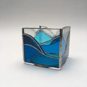 Photophore vitrail Tiffany camailleu de bleus