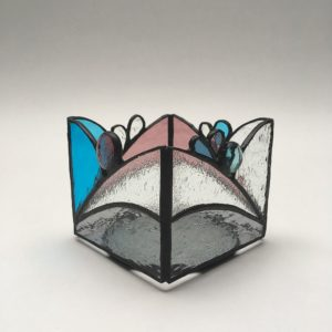 Photophore vitrail Tiffany gris-turquoise-vieux rose – patine noire