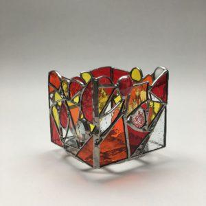 Photophore vitrail Tiffany rouge-orange-jaune