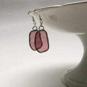 Boucles d'oreilles vitrail Tiffany Freeform vieux rose