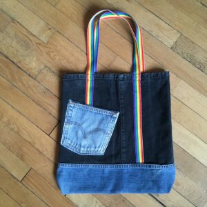 Sac totebag géant denim recycle rainbow