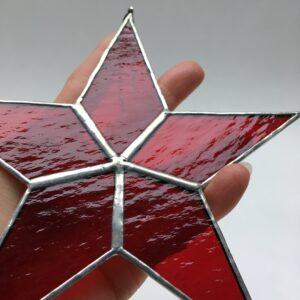 Etoile vitrail Tiffany – GM18 – rouge